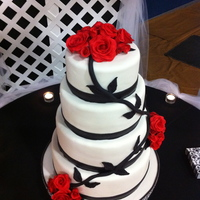Red Rose Wedding Cake Cumpaste Red Roses, Black vine and leaves