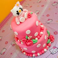 Kitty Cake Hello kitty cake for a friends daughter, fondant/gumpaste figure and flowers
