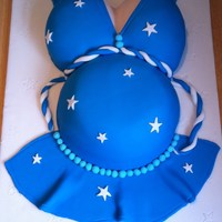 Baby Bump Cake  This is the first time i have ever done a cake like this and I was pleased with the results! the cake is a bowl cake and the boobs we made...