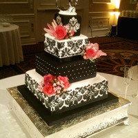 Damask Wedding Cake I'm sure everyone is tired of damask wedding cakes, so here's another one! :-)This was the first one I have made. Stenciling was...