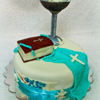 This Cake Was Requested For A First Communion Party The Chalice Bible Rosary And Handkerchief Are All Made Of Fondant This cake was requested for a First Communion party. The chalice, Bible, rosary and handkerchief are all made of fondant.