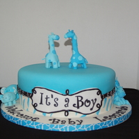 Baby Shower   Blue Safari Baby Showergum paste decorations