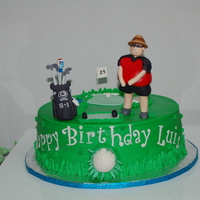 Golf Golf player cake, replica of golfer's bag and of him. Sunday Tiger (Woods) Red outfit