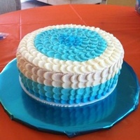 Blue Ombré Cake Chocolate and WASC cake with BC filling. This technique takes a lot of time but makes a beautiful cake!.,