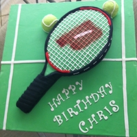 Tennis Racquet Tennis racquet cake I made for my husbands birthday. Chocolate with chocolate ganache. Strings are RI.