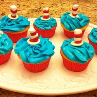 Dr. Suess Cupcakes   Made these for my daughters school class. They were having a party to celebrate Dr. Seuss' birthday.