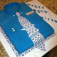 Shirt And Tie Cake For Co Workers 80Th Birthday Wasc Cake With Buttercream Filling Fondant Tie Covered With Edible Paper Design   Shirt and tie cake for co-workers 80th birthday. WASC cake with buttercream filling. Fondant tie covered with edible paper design.