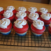 Red White And Blue Cupcakes Vanilla cake colored and layered. Lots of fun!