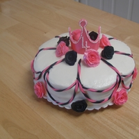 Pink And Black Princess Cake Pink and black roses with pink fondant crown