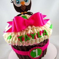 Owl Giant Cupcake to match party decor