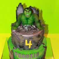 Incredible Hulk Cake Incredible Hulk Cake. Cake is completely edible. Hulk is sculpted out of modeling chocolate...yummy!!!