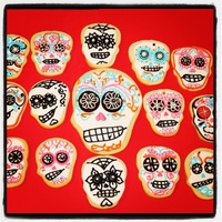 Dia De Los Muertos Dia de Los Muertos sugar cookies. Each cookie individually piped with royal icing detail.
