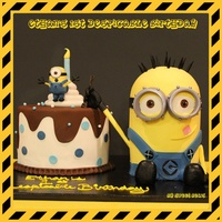 Minion Birthday Cake Minion birthday cake. It's all edible and made of cake.