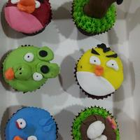 Angry Bird Cupcakes made by my 7 year old son
