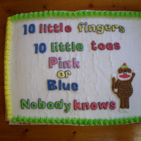 Unknown Baby Half sheet cake I did for a girl at work. They weren't going to find out what they were having. The baby's room was primary...
