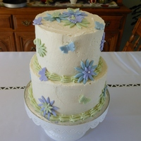 Small Wedding   Chocolate Cake, White Chocolate Buttercream Filling and Frosting, Fondant Flowers and Butterflies