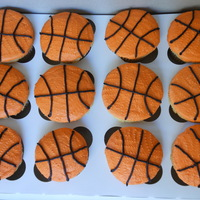Basketball Cupcakes   Yellow Cupcakes and Vanilla Buttercream Frosting for a youth basketball team end of year party