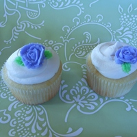 Wedding Shower Cupcakes   Lemon Cake, Lemon Buttercream with small buttercream rose