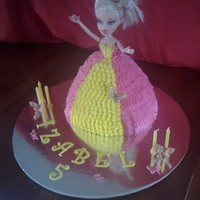 Pink And Yellow Doll Cake