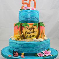 Bahama Birthday Cake made for a lady celebrating her birthday in the Bahamas. Fondant was painted by hand with gel colors and luster dust. Sand is crushed...