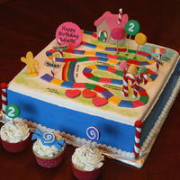 "Candyland Cake 12"" square cake ...all items made from fondant/gumpaste mix."