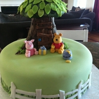 Pooh And Piglet Tree modeled with RKT covered in fondant and hand painted. GP Pooh and Piglet