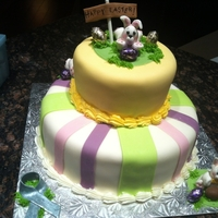 Easter Cheer cake I did for a donation for a brain cancer fundraiser held on Easter weekend 2012...Fondant bunnies