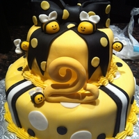 Twin Bees fondant bees and bow. I made little beehive smashcakes to go with this cake. it was a cake for fraternal twins