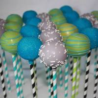 Baby Shower Cake Pops Blue, Green and Gray Cake Pops for a Baby Shower
