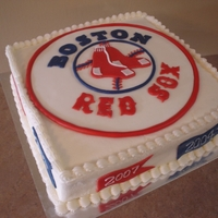 Red Sox Groom's Cake Red Sox logo and fondant pennants complete this simple grooms cake.