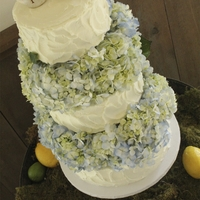Country- Chic Hydrangea Wedding Cake Red velvet with strawberry filling, 'country iced'. Reception was at a beautifully rustic barn. It was only fitting to have the...