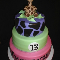 Giraffe, Zebra Print And Bright Colors! The client requested a brightly colored 3 tiered cake to be topped with a 3D giraffe... This is what she got! She almost fell on the floor...