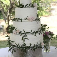 Simply Rustic Wedding Cake With Fresh Flowers Bride requested rustic iced ivory buttercream with fresh greenery and pale pink flowers. Vanilla sponge with raspberry filling. Thanks for...