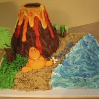 Exploding Volcano Cake! Customer requested a volcano cake that would actually 'Erupt!' This is what he got! The volcano has a 6oz glass inside which was...