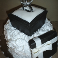 Engagement Ring Box Engagement cake for the happy couple! Ring is a napkin holder. Ring box and lid are RKT. Almond cake with apricot filling and IMBC rosettes...