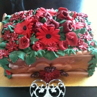 40Th Wedding Anniversary 4 layer sponge cake covered in terecotta coloured fondantand fondant flowers
