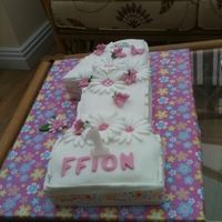 First Birthday Cake   age 1 shaped sponge cake