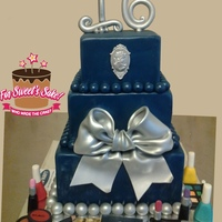 Sweet 16 Birthday Cake Silver and blue sweet 16 birthday cake...