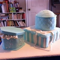 Assorted Boxes Bridal Shower Cakes Teal and white assorted sizes of boxes make a great bridal shower cake.