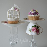 Romantic Birdcage And Flower Cupcakes Inspired By Vintage Cups romantc birdcage and flower cupcakes inspired by vintage cups