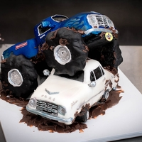 Monster Truck Vs Ford Falcon Grooms cake order I am so happy is behind me