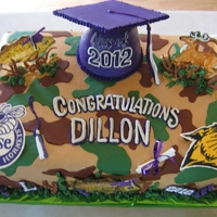 "Camoflague Grad Cake Double layer 18""x 12"", Italian Meringue Buttercream iced, fondant, royal, and buttercream decorated"