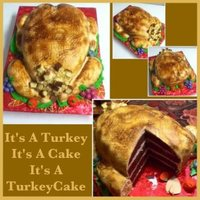 Its A Turkey, Its A Cake... Its A Turkeycake Stuffing, wings and legs made of rice crispy treats. Croutons = pound cake sliced and diced This was a very fun cake =)