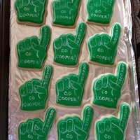 Foam Finger Sugar Cookies Hand-painted for John Cooper School's football team dinner.