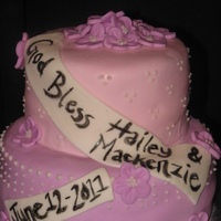 Hailey & Mackenzie's Baptism Baptism cake for two little girls. Thanks to CC members for the inspiration!! :)
