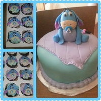 "Baby Eeyore Baby Shower Cake & Cupcakes 6"" cake with 50\50 GF figuring matching cupcakes."