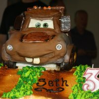 Mater My 3 yr old nephew was crazy about his Mater cake. Mater is wasc with chocolate ganache covered in fondant The ground is chocolate cake /...