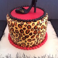 "Leopard Print Cake 6"", Hand painted the leopard print, shoe is made from modeling chocolate. TFL!"