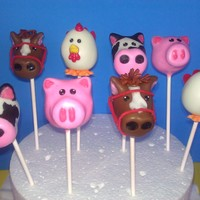Animal Cake Pops Horses, cows, roosters, and pigs. Each was hand molded and then dipped accordingly. Loved these, they took a while but were a lot of fun :D...