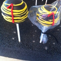 Black And Yellow #1   Black with yellow drizzle with a red #1. These were for my boss' son's football team!
